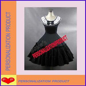 Elegant-lolita-Fancy-Belle-ball-gown-Lace-Black-Cosplay-Knee-Length-Dress