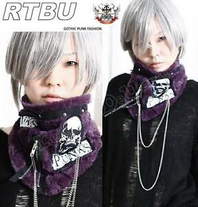 Visual-Kei-Punk-Gothic-FUR-Neck-Wrap-Scarf-Mask-PURPLE