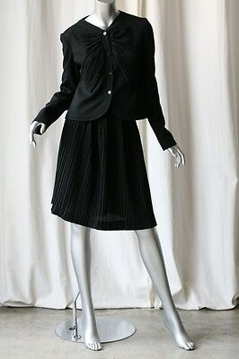 VALENTINO Black Bow Blouse-Top/Jacket+Pleated 2-Piece Skirt Suit Outfit NEW 8