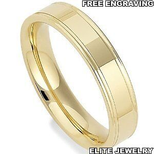4mm Wide Mens 14k Yellow Gold Wedding Bands Ring Sizes 4