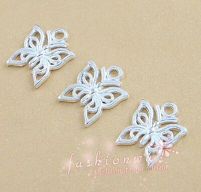 50 Pcs/lot Silver Plated Hollow Beautiful Butterfly Charms 12x14mm