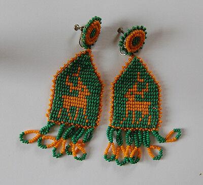 VINTAGE AMERICAN INDIAN SEED BEADED EARRINGS LEATHER