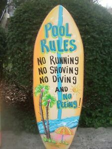 Pool Rules Tropical Surfboard Decorative Art Tiki Hut Bar