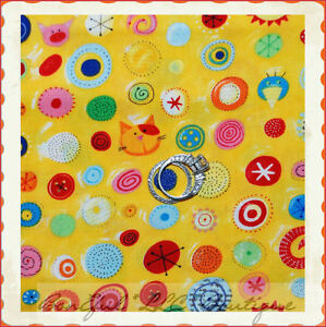 BonEful-Fabric-FQ-Cotton-Quilt-VTG-Nancy-Wolff-Cat-Pig-Pet-Sm-Rainbow-Dot-Calico