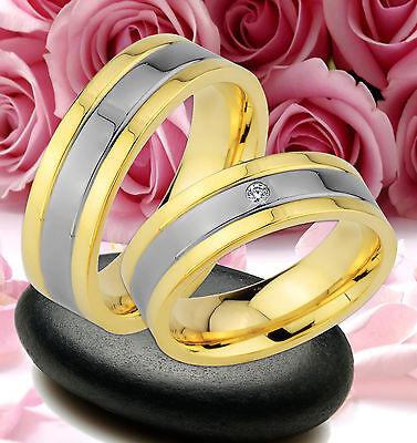 2 Ringe Trauringe Eheringe Dr. Mit Stein Gold Platiert Gravur Gratis : Je57-1