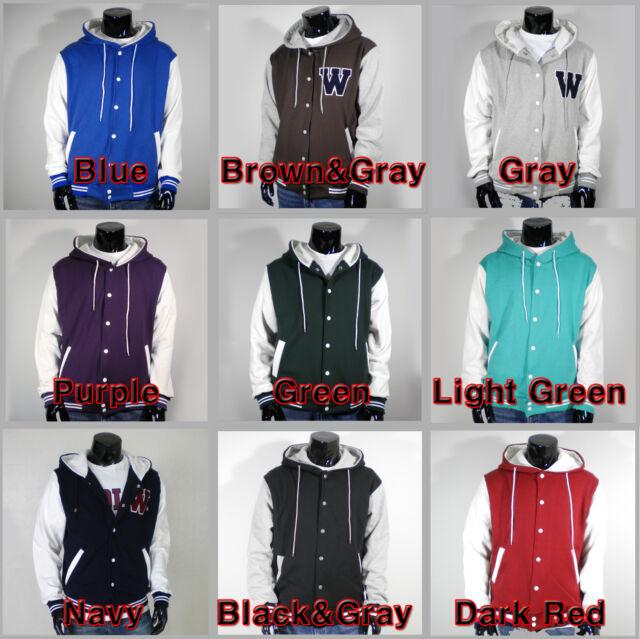 Mens Unisex New Varsity Hoodie Baseball Jacket S M L XL 2XL 3XL 4XL VariousColor