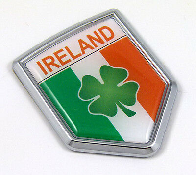 Irish flag with shamrock Ireland Car Chrome Emblem Sticker Decal medalion 3D