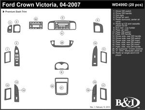 ford crown victoria 2004 2005 2006 2007 dash trim kit d