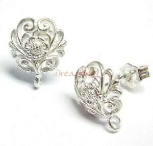 10x-STERLING-SILVER-FLOWER-Stud-earrings-loop-post-se536w