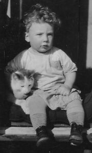 OLD-1929-WILKIE-SASKATCHEWAN-CANADA-BABY-BOY-CAT-TABBY-CARRIAGE-SLED-OLD-PHOTO