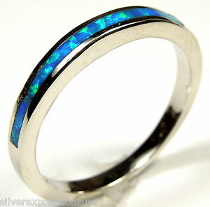 Blue-Fire-Opal-Inlay-925-Sterling-Silver-Band-Ring-size-6-7-8-9