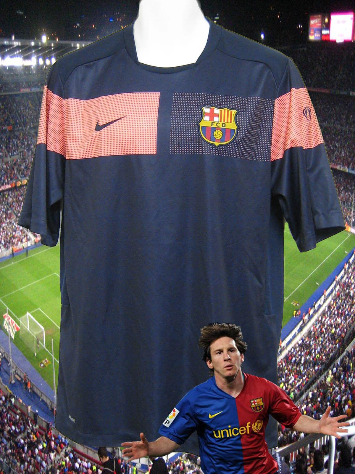 Neue NIKE BARCELONA Football Training Pre Match Shirt Navy
