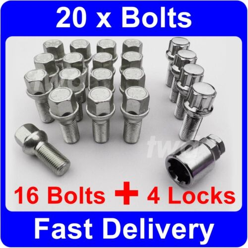 20 x ALLOY WHEEL BOLTS & LOCKS FOR AUDI A6 S6 RS6 (1994-2011) LOCKING NUTS [9R]