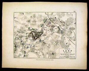 Napoleon Military Map Battle of Laon 1814 France Europe