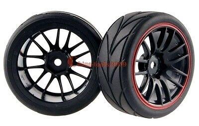 4PCS RC 1/10 Car On Road Wheel Rim & Rubber Tyre,Tires Fit HSP HPI 9068-6081