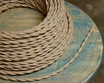 Tan Twisted Cloth Covered Wire, Beige Vintage Style Lamp Cord, Antique Lights