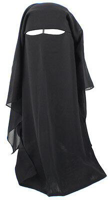 Deluxe 3 layer Niqab Nikab Hijab veil Face cover islamic muslim fancy dress