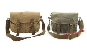 Mens-Canvas-Shoulder-Messenger-Satchel-Bag-Black-Khaki