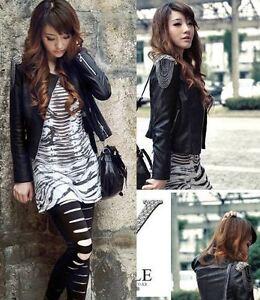 womens-motorcycle-cropped-biker-bomber-Faux-Leather-Jacket-Outerwear-w-tassles