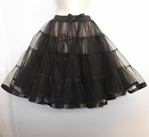 New-Black-23-034-long-Net-Tulle-1950s-PinUp-Rockabilly-Vintage-Petticoat-TuTu-Skirt