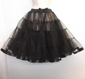 New-Black-23-long-Net-Tulle-1950s-PinUp-Rockabilly-Vintage-Petticoat-TuTu-Skirt