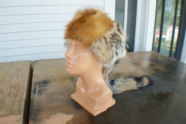 4 wild fur piece hat cap red n grey fox badger and nutrea Moyer-Johnson design.l