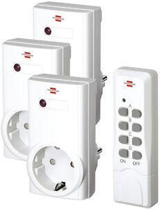 Brennenstuhl-RCS-1000-N-Comfort-3x-Funk-Steckdosen-Schalter-Set-amp-Fernbedienung