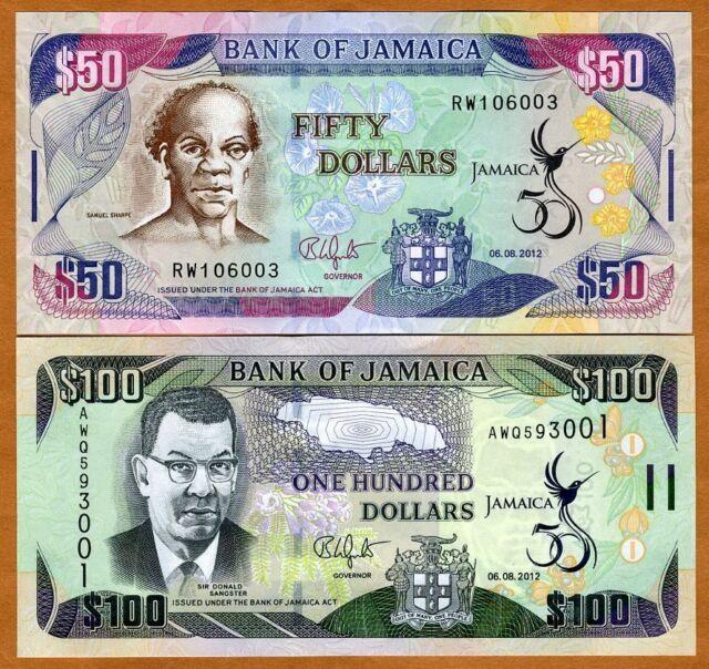 Set, Jamaica, $50;100, 6-8-2012, P-New, UNC > New Commemorative