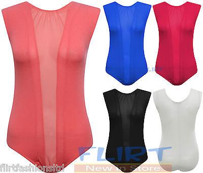 Womens Mesh Insert Panel Body Suit Ladies Sexy Leotard Sleeveless Top 8 10 12 14