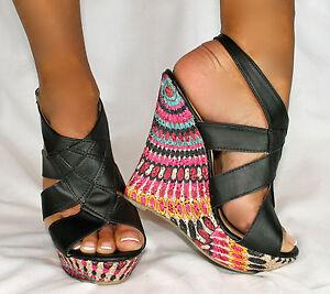 HOT-SEXY-FABRIC-DESIGNER-HEEL-Blue-Suede-Shoes-034-WILDER-034-Wedge-Platform-Sandal
