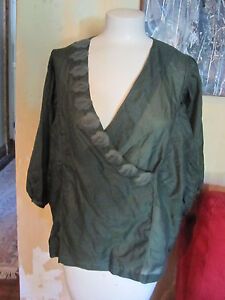 Anthropologie-gauzy-olive-green-leaf-flowing-embellished-shirt-sz-M