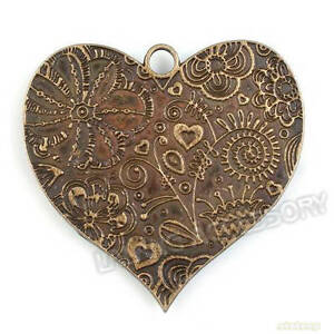 3x-142261-Bronze-Plated-Heart-Charms-Alloy-Pendants-Findings-53mm