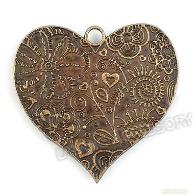 3x 142261 Bronze Plated Heart Charms Alloy Pendants Findings 53mm