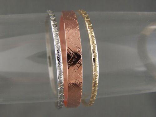 "lGold Silver Copper thin skinny set 3 kids girls bangle bracelet 2 1/8"" diameter"
