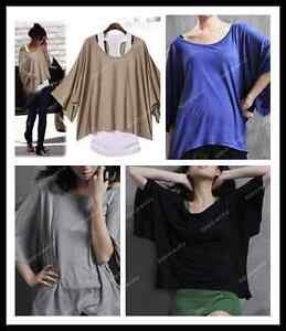 1x-Women-Sexy-Casual-Dolman-Batwing-Off-One-Shoulder-Tops-T-shirt-Blouse-M-L-Hot