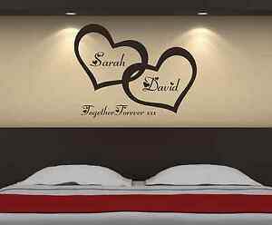 Personalised-Love-Hearts-Bedroom-Wall-Art-Sticker-Decal-Graphic-b5