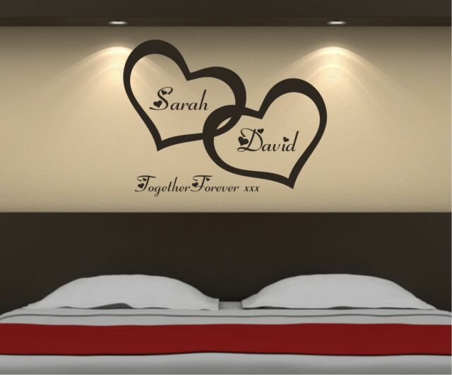 Personalised Love Hearts Bedroom Wall Art Sticker, Decal, Graphic b5