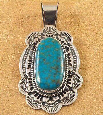 Daniel Sunshine Reeves Sterling Silver Natural Kingman Turquoise Navajo Pendant