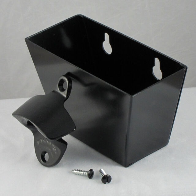 Plain BLACK Combo Starr X Wall Mount Bottle Opener /Aluminum Cap Catcher Set NEW