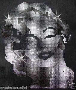Marilyn-Monroe-iron-on-HOTFIX-RHINESTONE-CRYSTAL-BEAD-GEM-BLING-T-SHIRT-TRANSFER