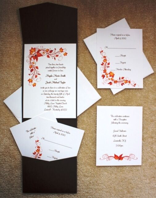 100 Personalized Custom Ivory Fall Autumn Pocket Bridal Wedding Invitations  Set