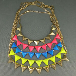 Fashion-Punk-Rock-Gold-tone-Candy-Color-Metal-Triangle-Studs-Necklace-Pendant