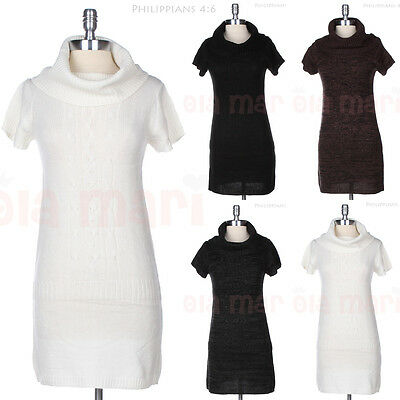 WARM Cowl Turtle Neck Short Sleeve Long Cable KNIT Sweater Tunic Dress Top SMALL
