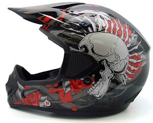 black rose skull dirt bike motocross off road atv helmet. Black Bedroom Furniture Sets. Home Design Ideas