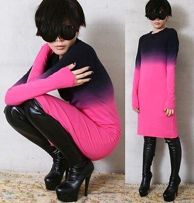RTBU Cotton Punk Dip Tie Dye Gradient Long Top T Shirt Dress Tunic PJS Hot Pink