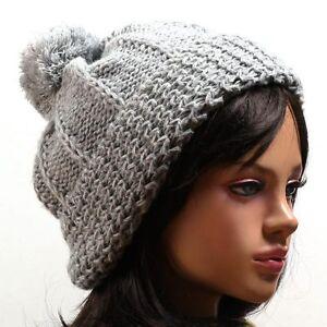 UniSex-pompom-BEANIE-wool-Knit-Crochet-ski-Hat-Cap-IY