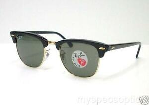 Ray-Ban-3016-901-58-Clubmaster-Black-51-Large-New-100-Authentic-Polarized