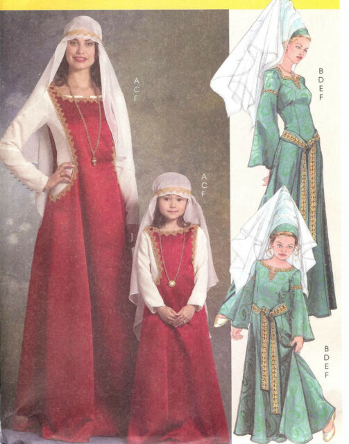 Medieval Lady Princess costume PATTERN Miss 8-22 Kids 3-8 McCalls 5499 dress hat