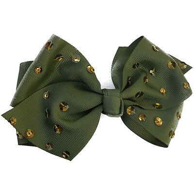 Girls Bow Sequin Olive Green Grosgrain Hair Bow on Pinch Clip Holiday Accessory