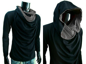 New Men Longsleeve Black Turtle Cowl Neck Hoodie Scraf
